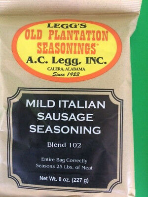 MILD Italian Sausage seasoning for 25 lbs.  Old plantation from AC Legg