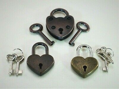 Old Vintage Antique Mini Padlock Key Lock Heart Shaped (Assorted color) Lot of 3