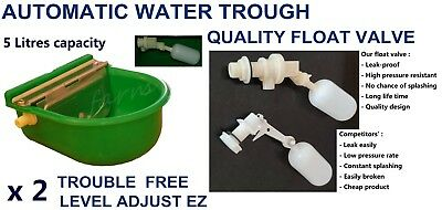 Two  Auto Float Valve Water Trough Bowl Stock Waterer Drinking 4 Horse Sheep Dog
