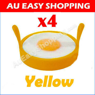 4 x yellow Egg Rings High-heat-resis tant Silicone Non Stick baking Kitchen BBQ