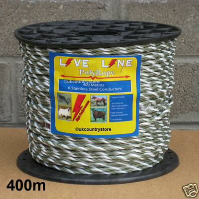Green / White Electric Fencing Rope 400m