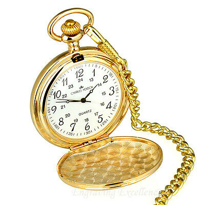 Engraved Gold Pocket Watch Wedding/Usher/Best Man Gift Personalised FREE Present