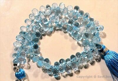 Micro Faceted Blue TOPAZ 6.5-8.5mm Sidedrill Drops (Select-A-Size) A+++