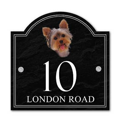 Custom Yorkshire Terrier House name sign, House Number Plaque, Dog House Sign