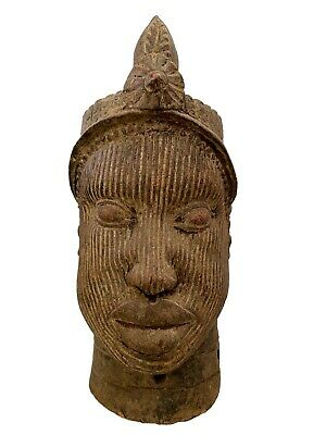 Large Ife Clay / Terracotta  Crowned Head of Oni Yoruba Nigeria African 17.5 H