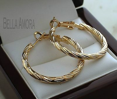 Stunning 9ct Gold Plated Twist Hoop Earrings - 30mm - New - s2