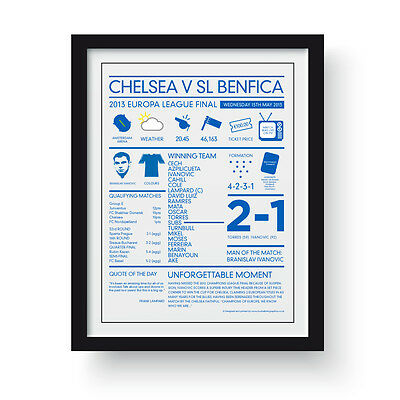 Chelsea v Benfica  May 2013 .Europa Cup Final.  Framed Limited Edition Poster.