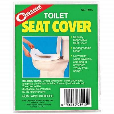 Coghlans Toilet Seat Cover 10 Pack - Sanitary Disposable Seat/Biogradable Tissue