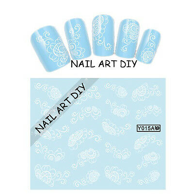 20 stickers-decals nail art water transfer-tattoo adesivi unghie Fiori Bianchi !