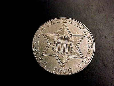RARE GORGEOUS 1856 3c THREE CENT SILVER PIECE MS BU UNC +++ BUY IT NOW OR OFFER