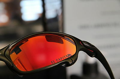 """Oakley + CUSTOM JULIET CARBON + RUBY RED """"The CAPTAIN"""" LENS + RARE ++ RED PADS++"""