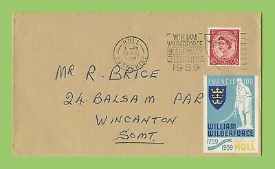 GB 1959 QEII 2½d on plain cover Wilberforce Bicentenary Slogan p/m and Label