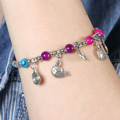 HOT Free shipping New Tibet silver multicolor jade turquoise bead bracelet S135