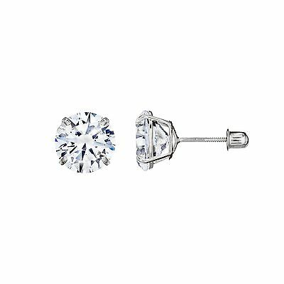 14k Solid White Gold Super Bright Clear CZ Studs Basket Setting Round Screwback