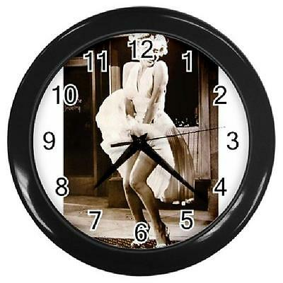 Marilyn Monroe W3 10 inch Round Wall Clock Black ROOM DECOR COLLECTOR GIFT NEW