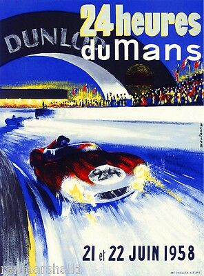 1958 - 24 Hours Le Mans France Automobile Race Car Advertisement Vintage Poster
