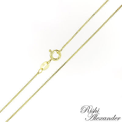 14K Gold over 925 Sterling Silver BOX Chain Necklace Vermeil .8mm Stamped 925