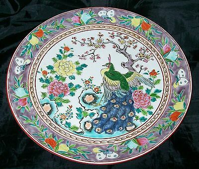 Very Large Peacock Design Signed Oriental Pottery Charger Plate