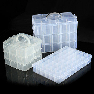 Adjustable Compartment Hard Plastic Jewelry Storage Organizer Container Box Case