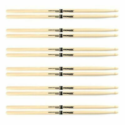 6 Pairs Promark TX5AW American Hickory Wood Tip 5A Wood Tip x 6 Pro Mark