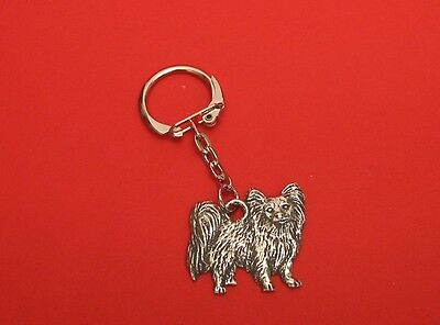Papillon Dog Pewter Key Ring Useful Gift Dad Mother Christmas Papillon Gift NEW