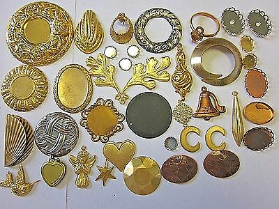 38 Vtg Lot Nouveau Style Raw Brass Stampings Setting Charms Jewelry Findings Nos
