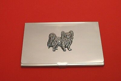 Papillon Dog Pewter Motif Chrome Plated Card Holder Useful Xmas Papillon Gift