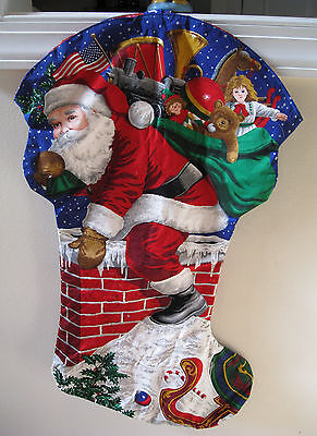 HUGE Santa Claus On Roof Stocking Home Made Lovely Glitter Gift Bag