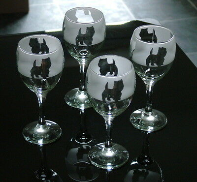 West Highland white Terrier Dog Wine Glasses by Glass in the Forest