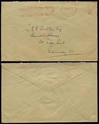 GB 1949 METER FRANKING SLOGAN RAILWAY EXECUTIVE ENVELOPE to GUERNSEY