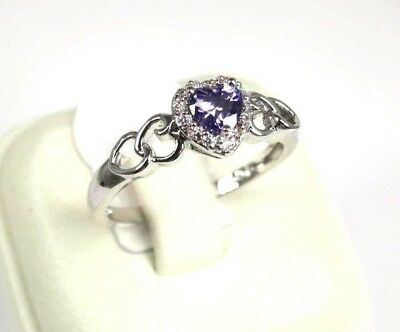 R#5788 simulated Purple Amethyst White Topaz Gemstone ladies silver ring size 10