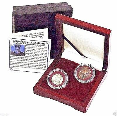 Crusaders Vs. Christians, Two Coins from the Fourth Crusade & Presentation Box