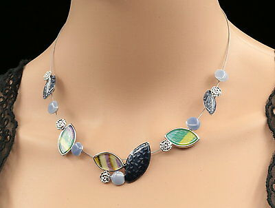 Flower round football shape blue fabric lucite silver tone necklace jewelry N05