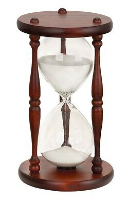 """Benzara 58183 Classic Wood and Glass Sand 60 Minute Timer Hourglass - 13""""H"""