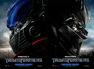 TRANSFORMERS PROTECT & DESTROY MOVIE POSTERS 2 Sided ORIGINAL INTL 27x40