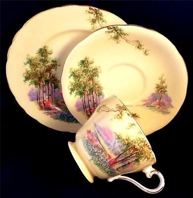 ART DECO China AYNSLEY Trio 'BLUEBELL TIME' Tea Set VINTAGE Pale Yellow FLORAL