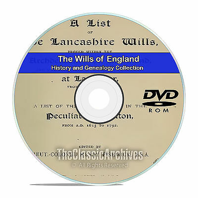 The Wills of England, English History and Genealogy, 100 Titles on DVD CD V91