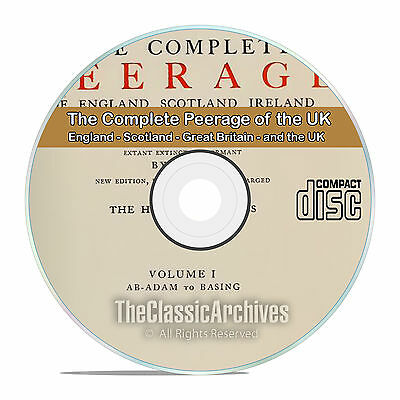The Complete Peerage of England, Scotland, Ireland, Great Britain, UK DVD CD V84