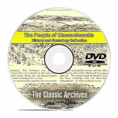Massachusetts MA, People Cities Towns, History & Genealogy 500 Books DVD CD B06