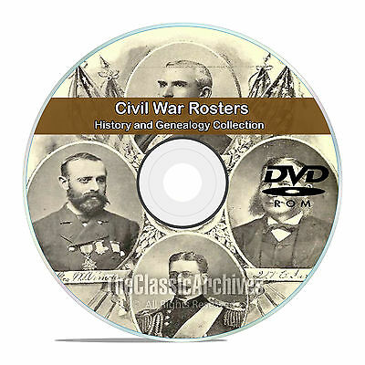 Civil War Rosters, 77 Classic Books, History and Genealogy, Names on DVD CD V82