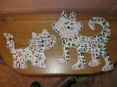 2 New Large Handcrafted Cat Mosaic Figures Plaque - Garden Decor - Pottery Resin