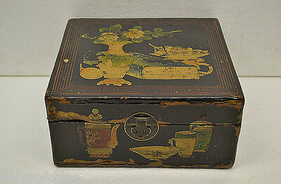 Asian Chinese Antique Small Black Wooden Treasure Box Chest w/Painting NO12-08