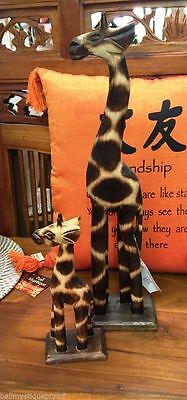 Set of Two Balinese Hand Carved Timber African Giraffe Statues NEW Bali #777