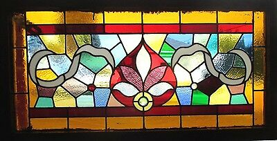 ~ ANTIQUE AMERICAN STAINED GLASS TRANSOM WINDOW 44 x 23  ARCHITECTURAL SALVAGE ~