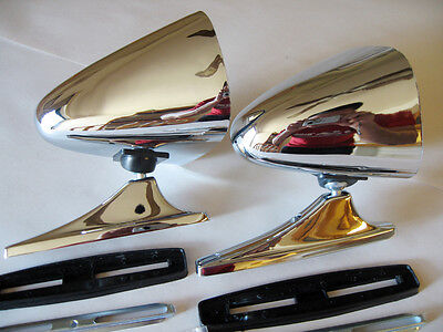 VINTAGE CHROME SPORT MIRRORS CLASSIC MUSCLECAR RESTOMOD HOTROD COMPLETE KIT