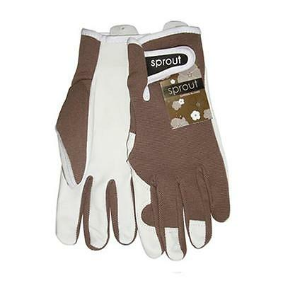 Sprout Taupe Ladies Goat Skin Soft Leather Garden Gloves Womens Gardening New