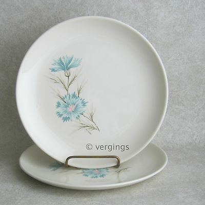 2 Taylor Smith Taylor Boutonniere Bread and Butter Plates TST Blue Carnation &