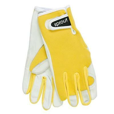 Sprout Yellow Ladies Goat Skin Soft Leather Garden Gloves Womens Gardening New