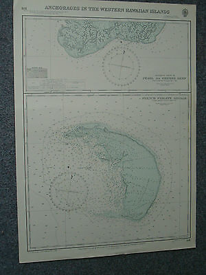 Vintage Admiralty Chart 1141 ANCHORAGES IN THE WESTERN HAWAIIAN ISLANDS 1949 edn