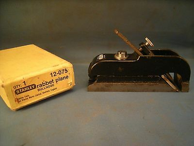 Stanley No, 75 Bullnose Rabbet Plane Excellent Condition w Decal on Tool & Box